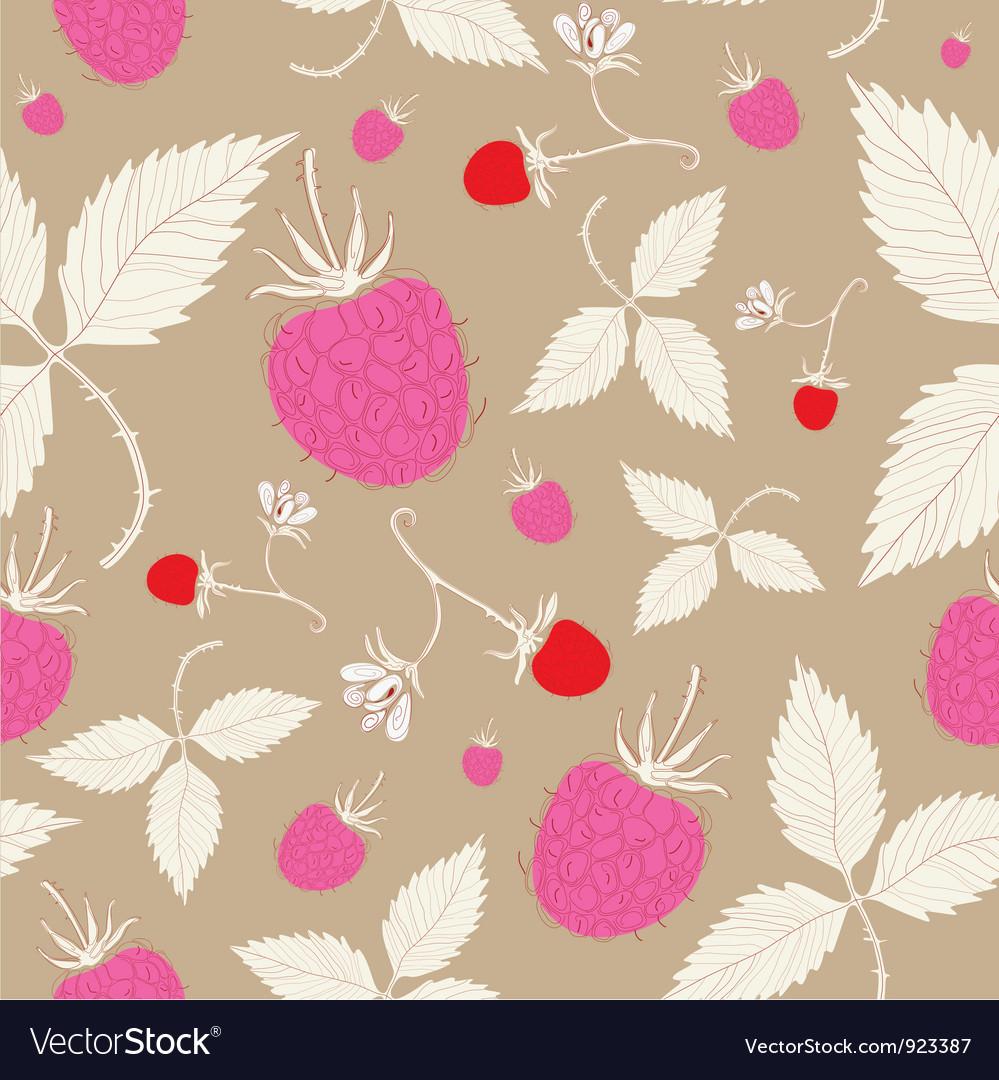 Vintage Raspberry Pattern Background vector image