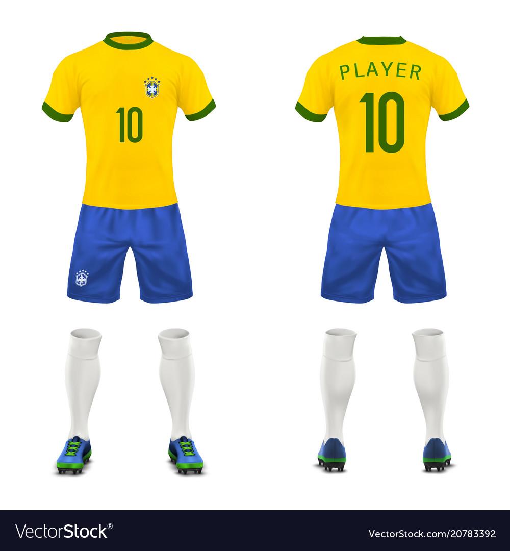 3d realistic uniform of brasil football