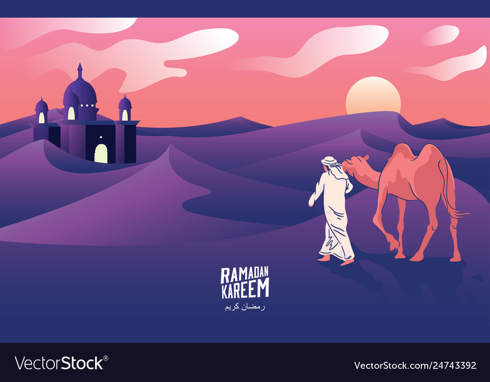 A mans journey with camels through desert
