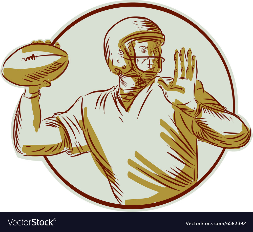 American Football QB Throwing Circle Side Etching vector image