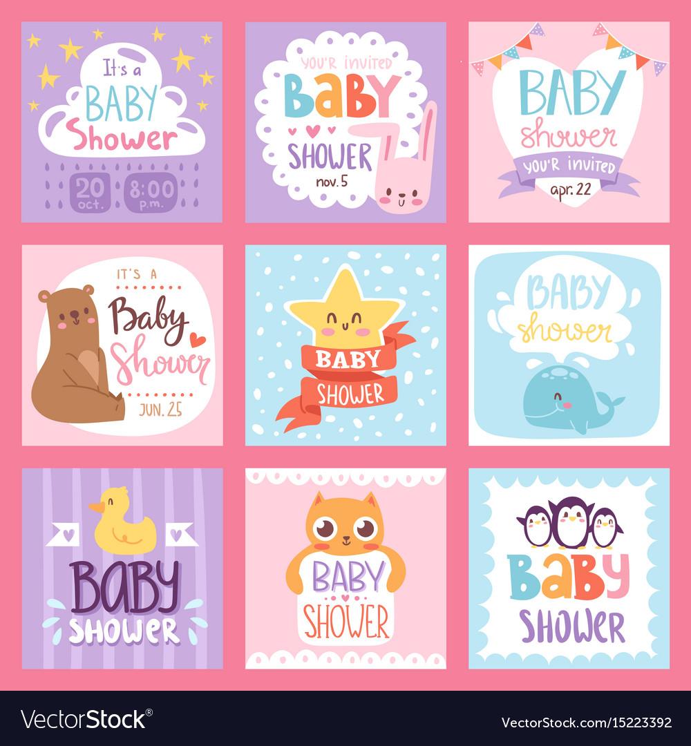 Baby shower invitation set card print vector image