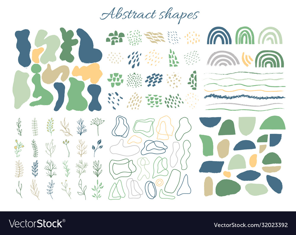Big set hand drawn organic shapes abstract