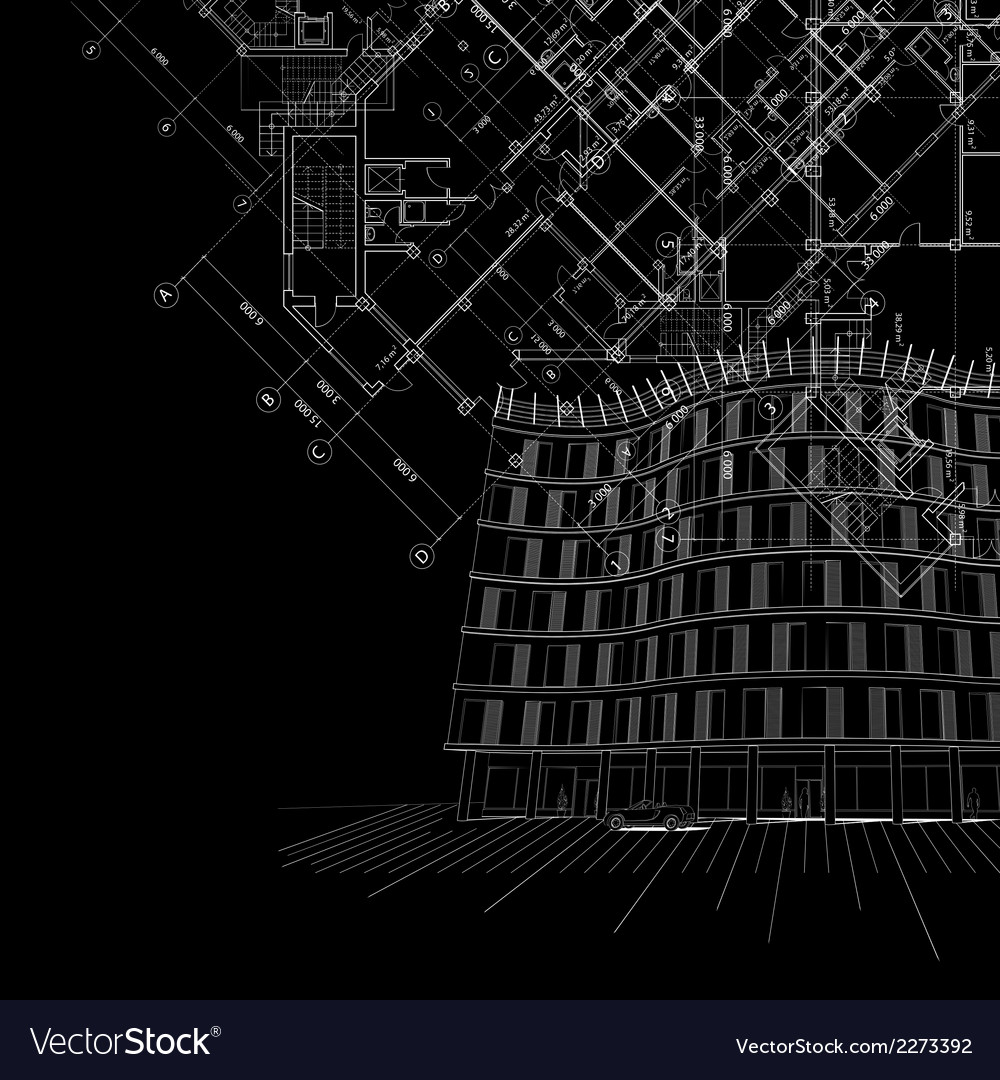 Black architectural background with building
