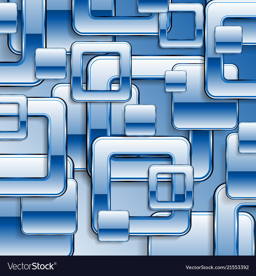 Blue tech glossy retro squares background