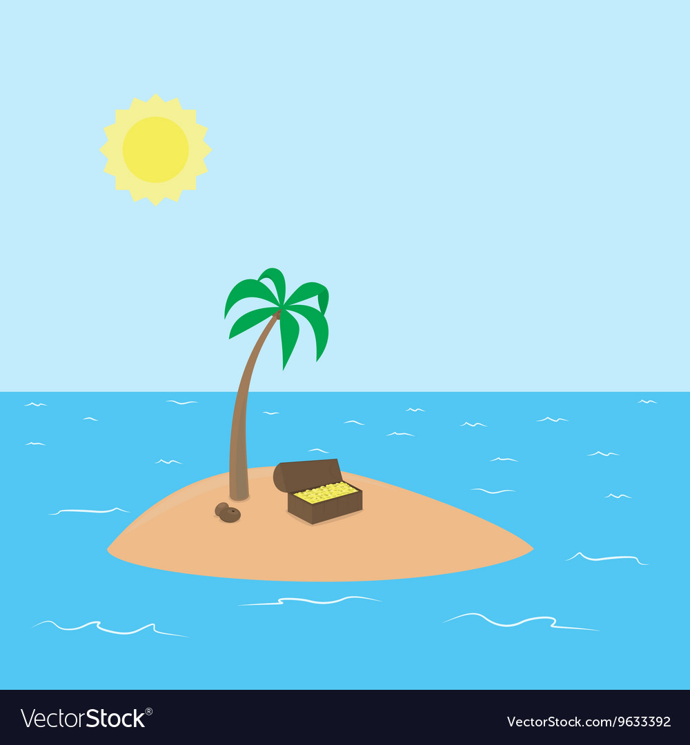 Cartoon Treasure Island with palm chest full of