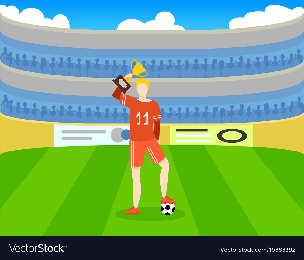 Colorful soccer award template vector image