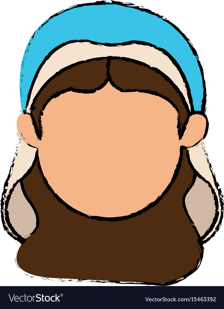 Cute faceless virgin mary manger cartoon vector image