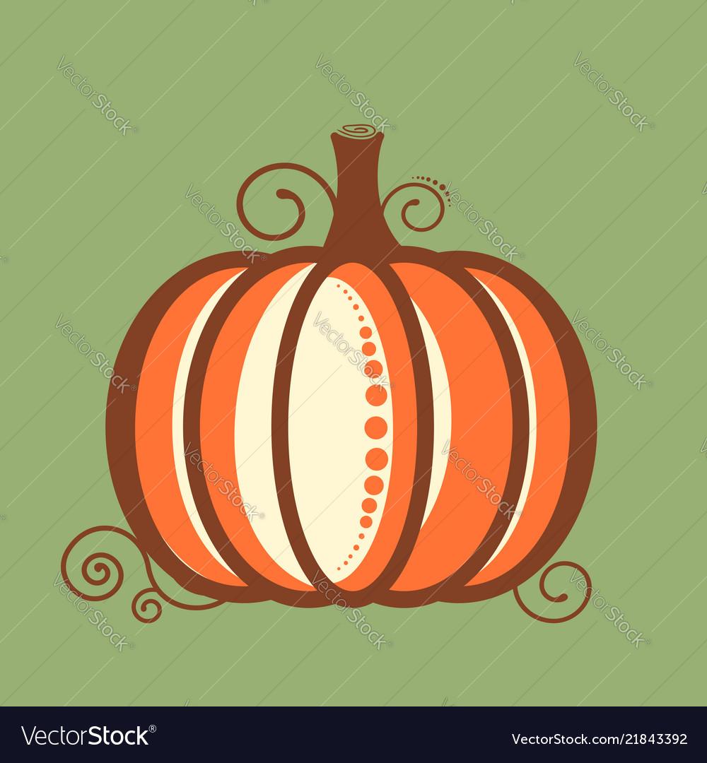 Decorative pumpkin card in flat style