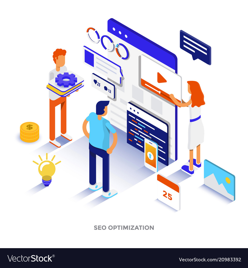 flat color modern isometric digital marketing vector image vectorstock