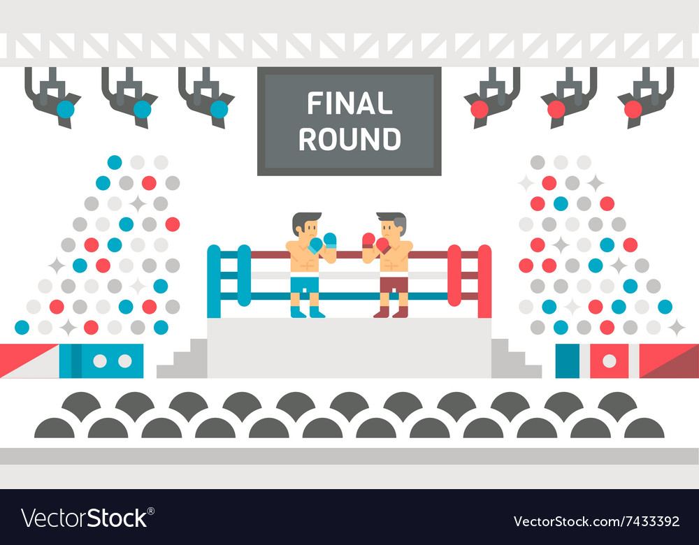 Flat design boxing stage fight