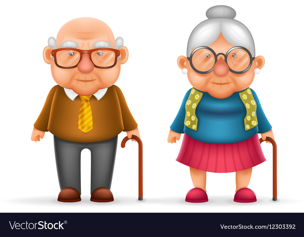Happy Cute Old Man Lady Grandfather Granny 3d