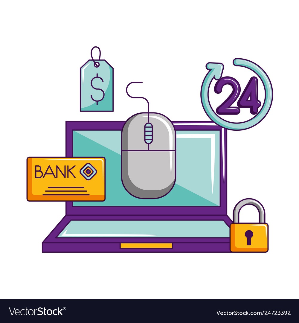 Laptop mouse bank card security shopping