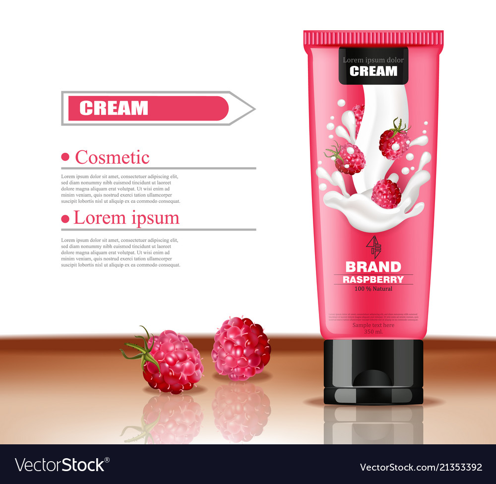 Raspberry cosmetics bottle realistic hand