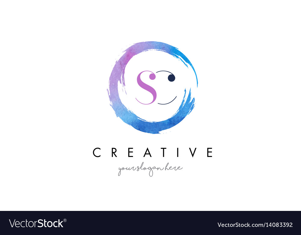 Sc letter logo circular purple splash brush vector image