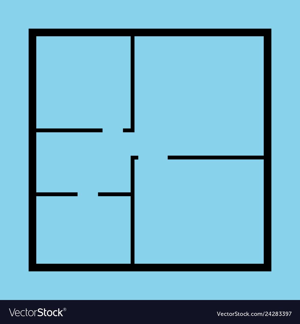 Apartment floor plan top view black thin line