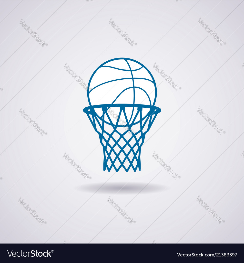 Basketball ball and net icon