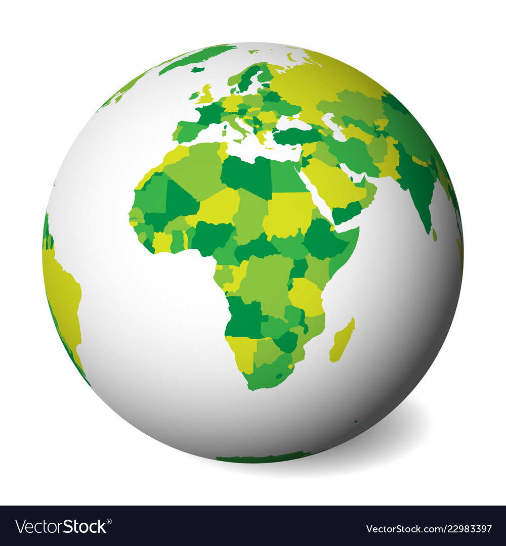Blank Political Map Of Africa 3d Earth Globe With Vector Image