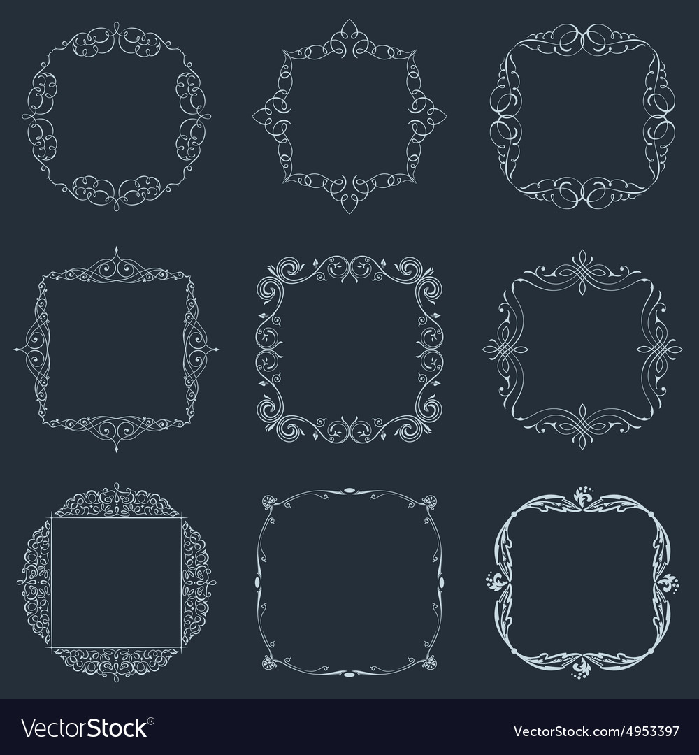 Calligraphic frames set and page decoration