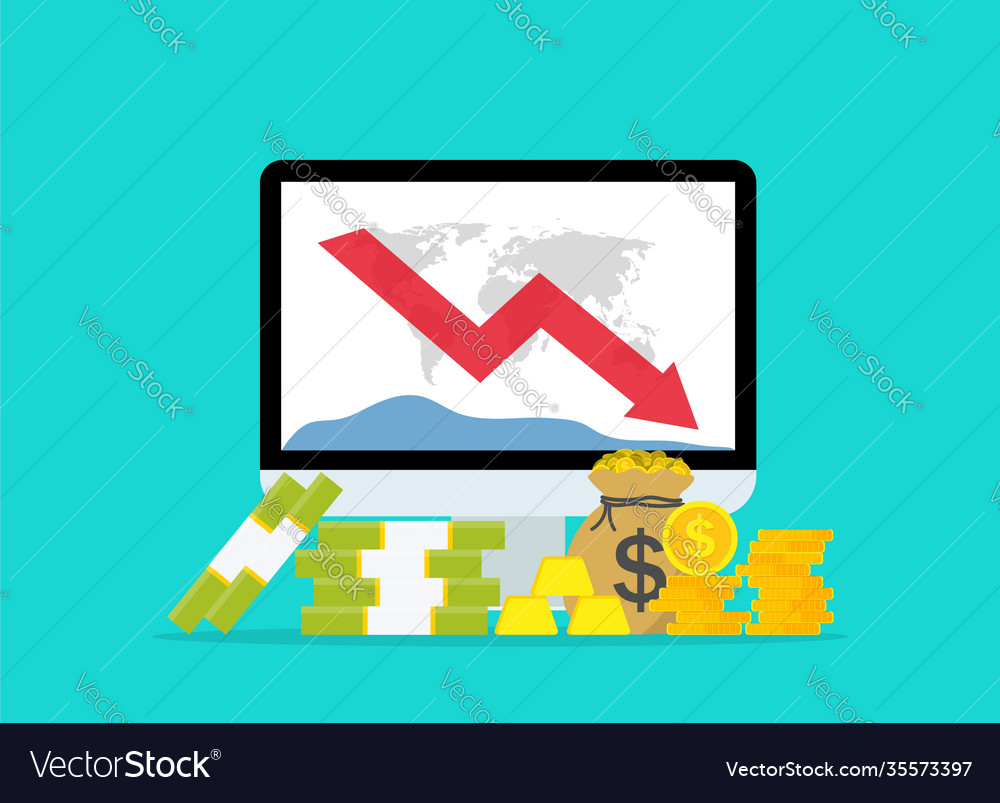 Down money budget on data graph chart loss