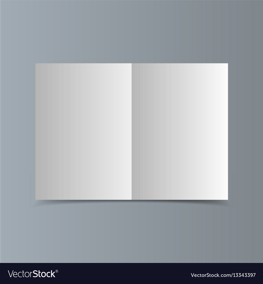 Empty horizontal white paper brochure mockup with