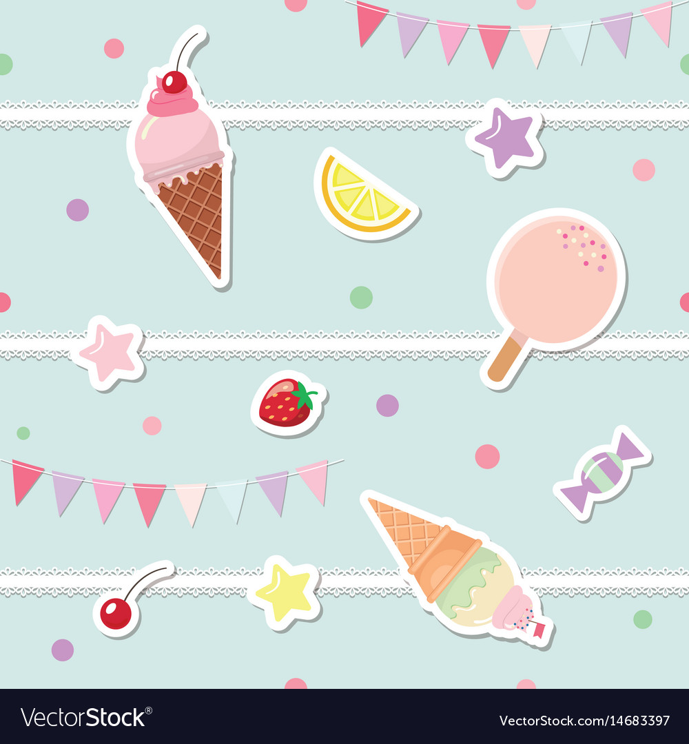 Festive seamless pattern with sweets and garlands