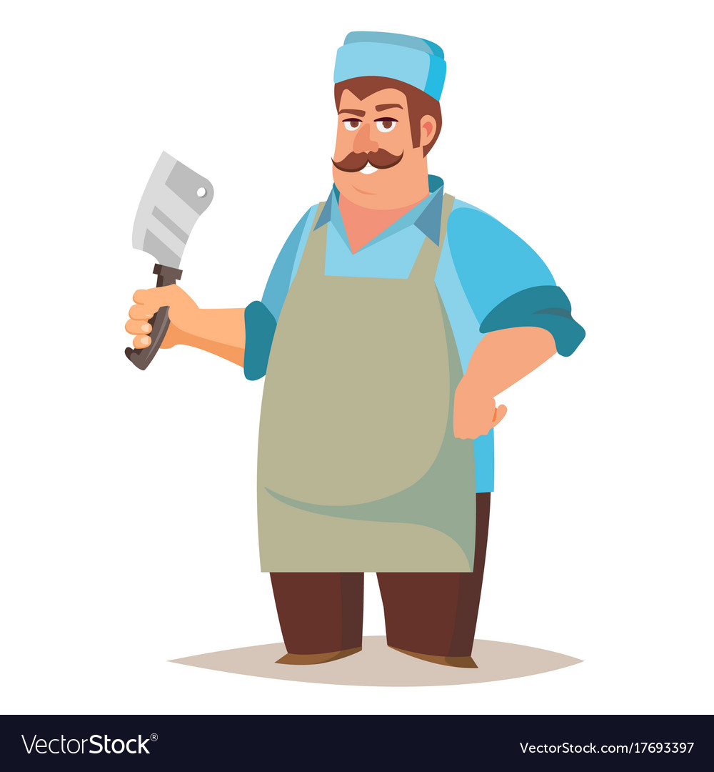 Happy butcher standing butcher man with