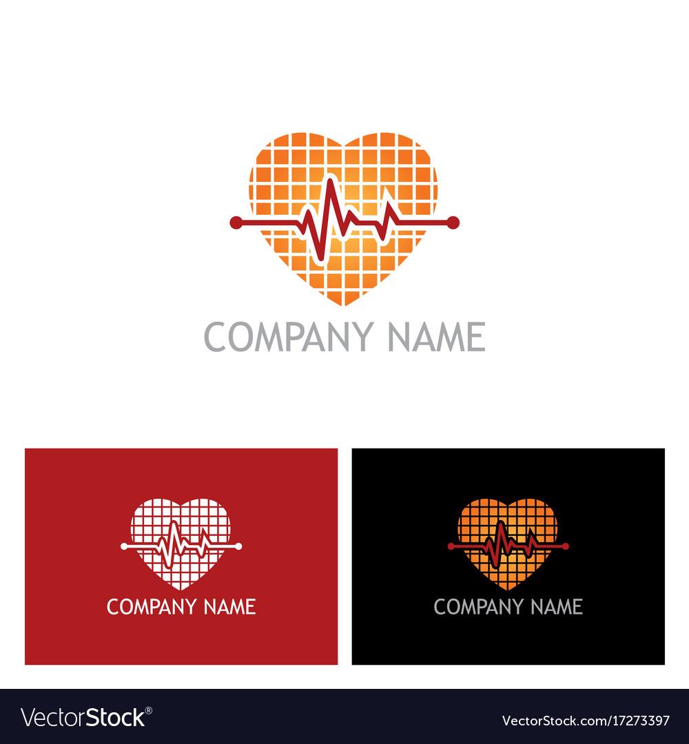 Heart beat pulse love logo