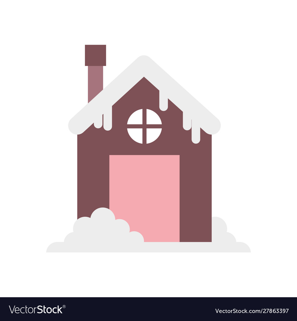 House with chimney and snow design