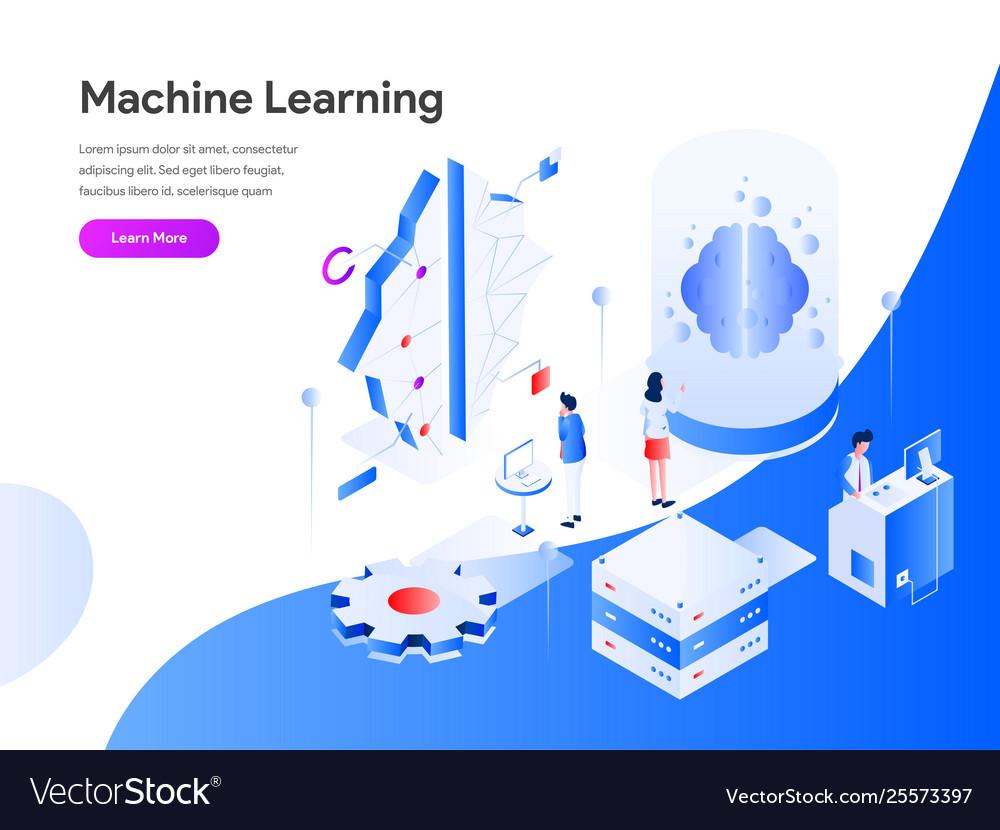 Machine learning isometric concept modern flat