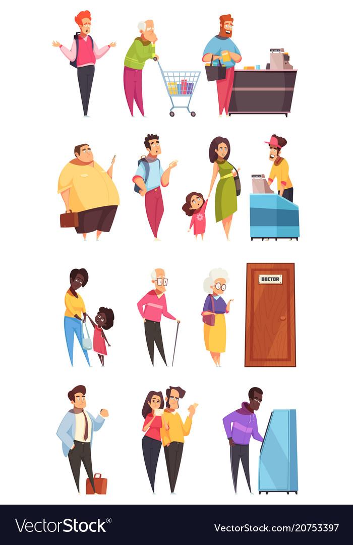 Queue people characters set vector image