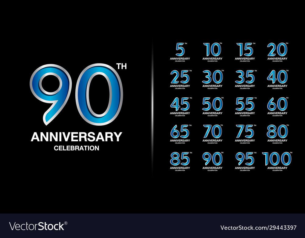 Set premium anniversary logotype silver
