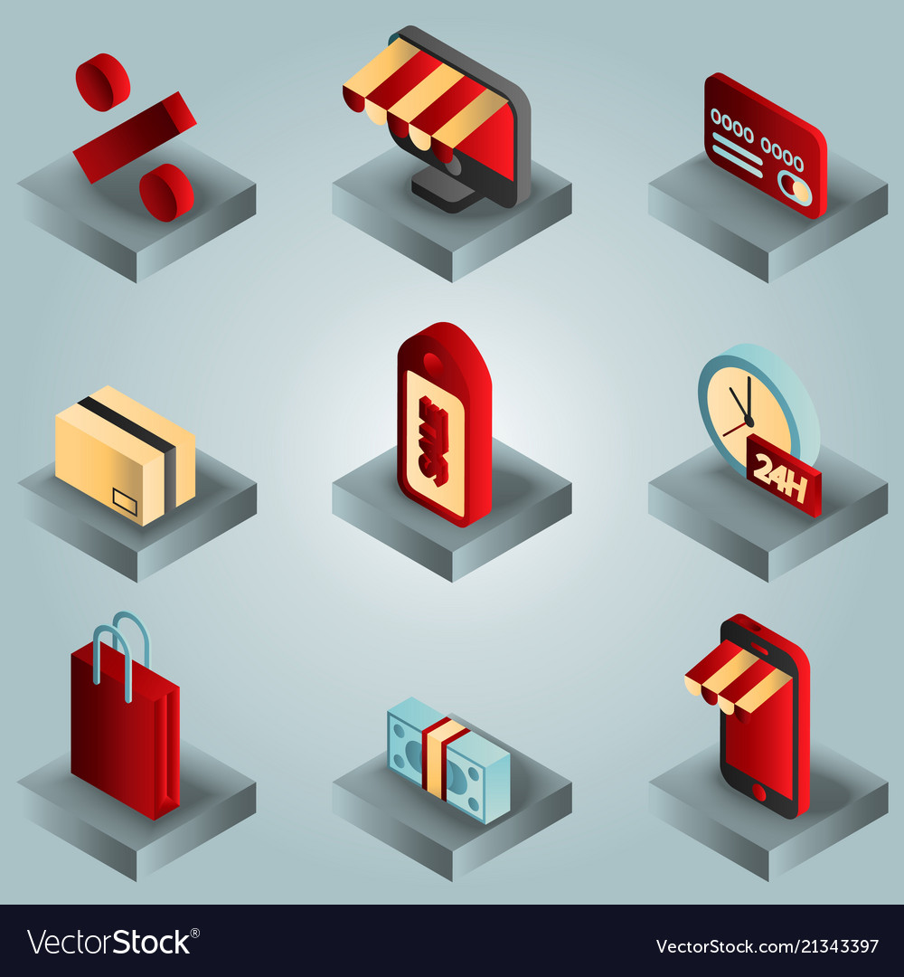 Shopping color gradient isometric icons