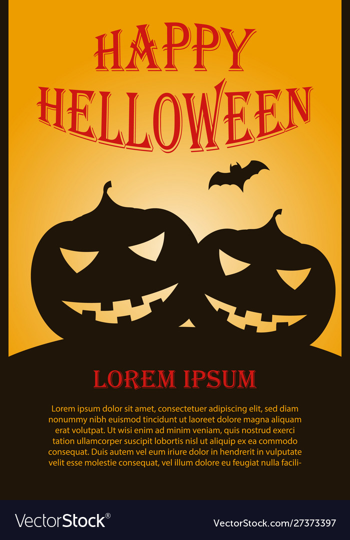 Vertical helloween poster with two pumpkins