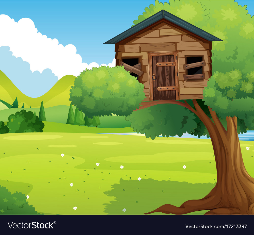 Wooden treehouse in the park