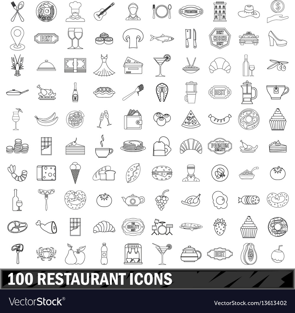 100 restaurant icons set outline style