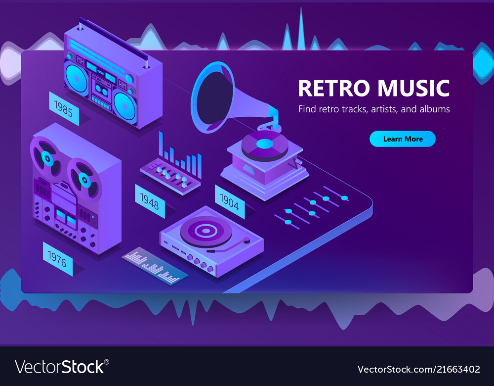 3d isometric site of listening music
