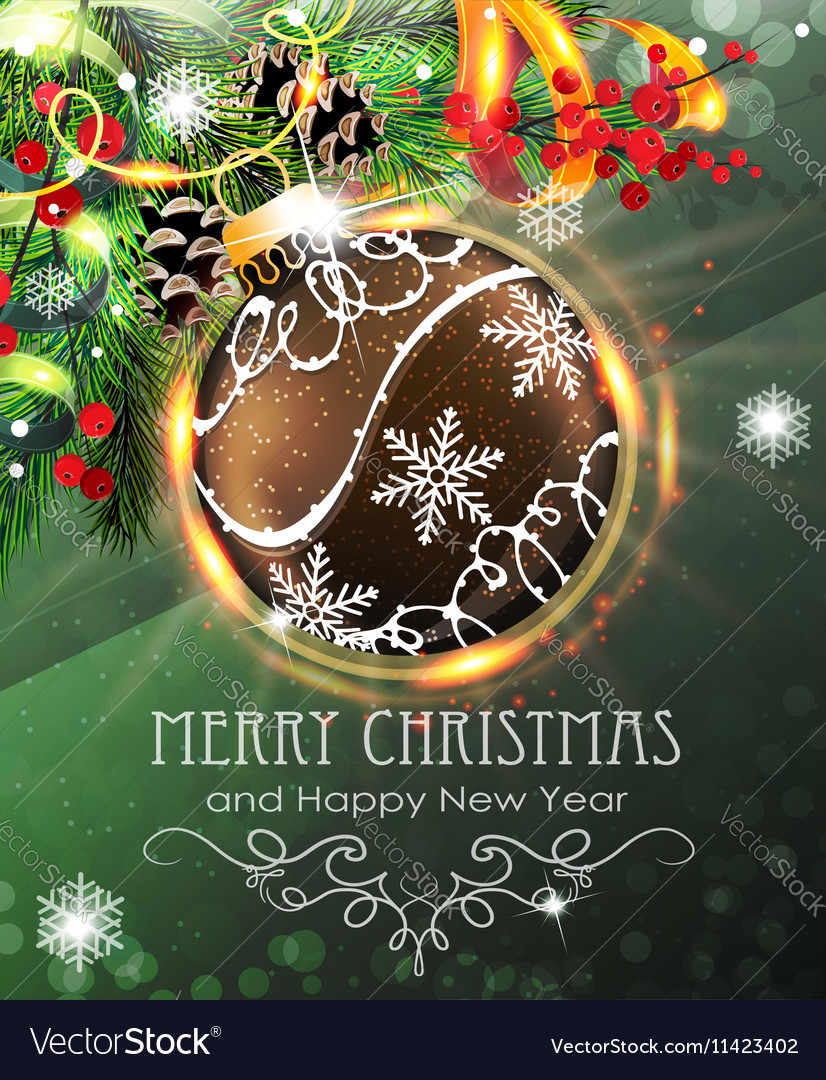 Brown Christmas bauble with fir branches and vector image