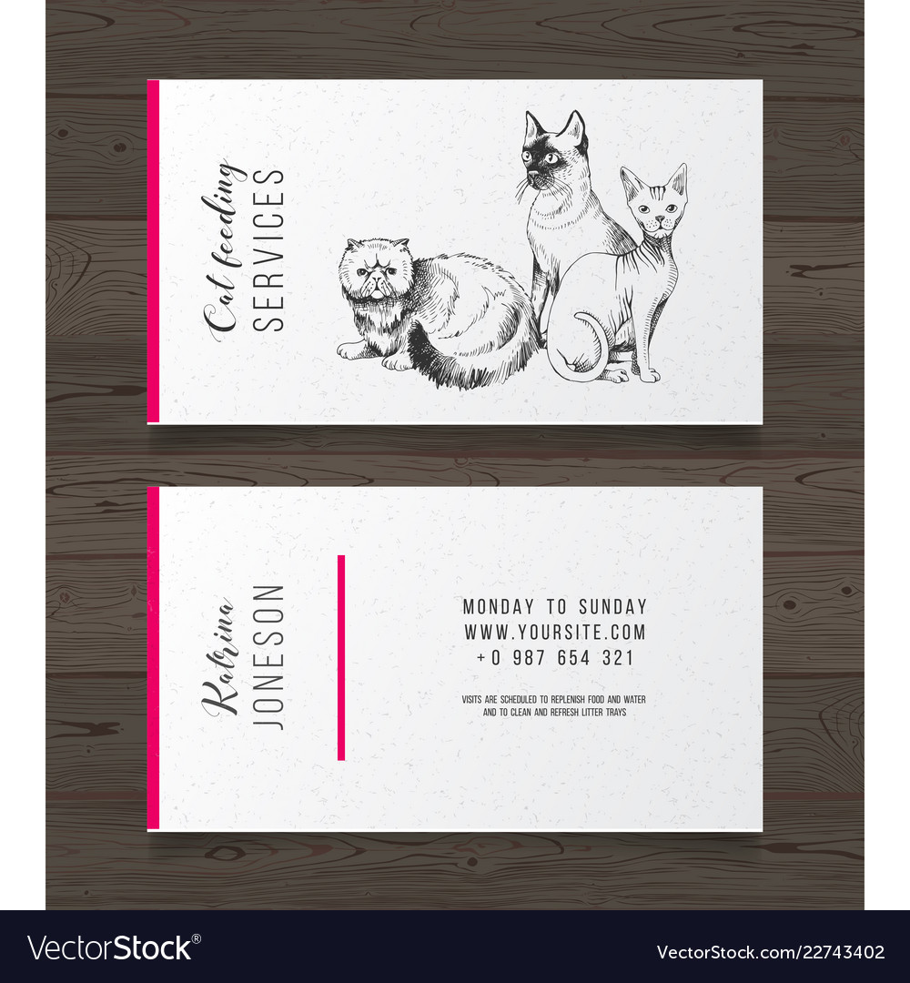 Cat feeding services business card