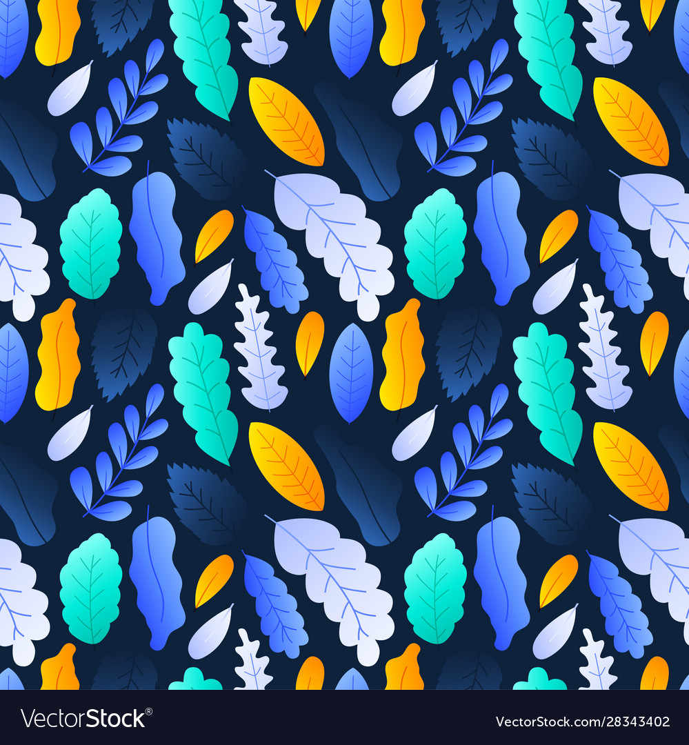 Colorful leaves seamless pattern background stock