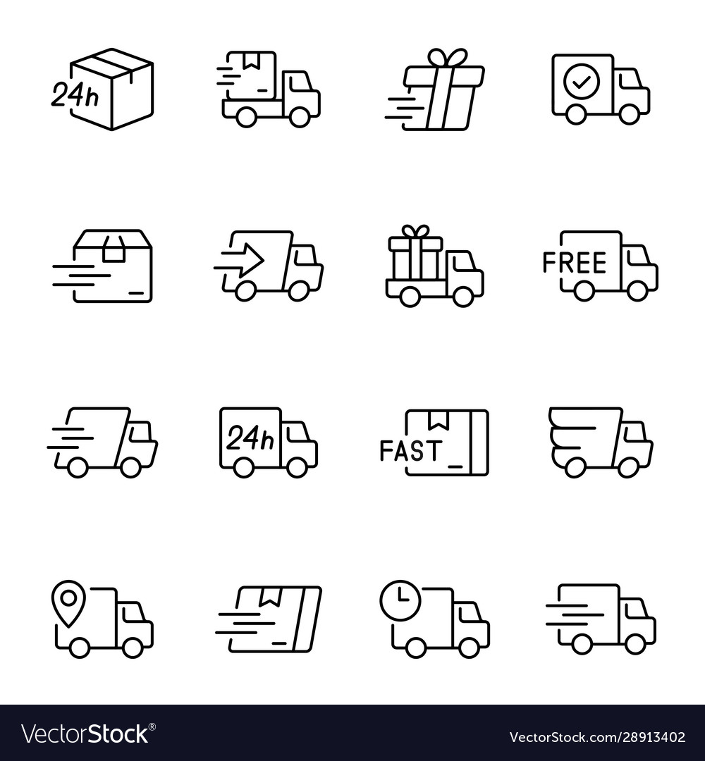 Express delivery service linear icons set
