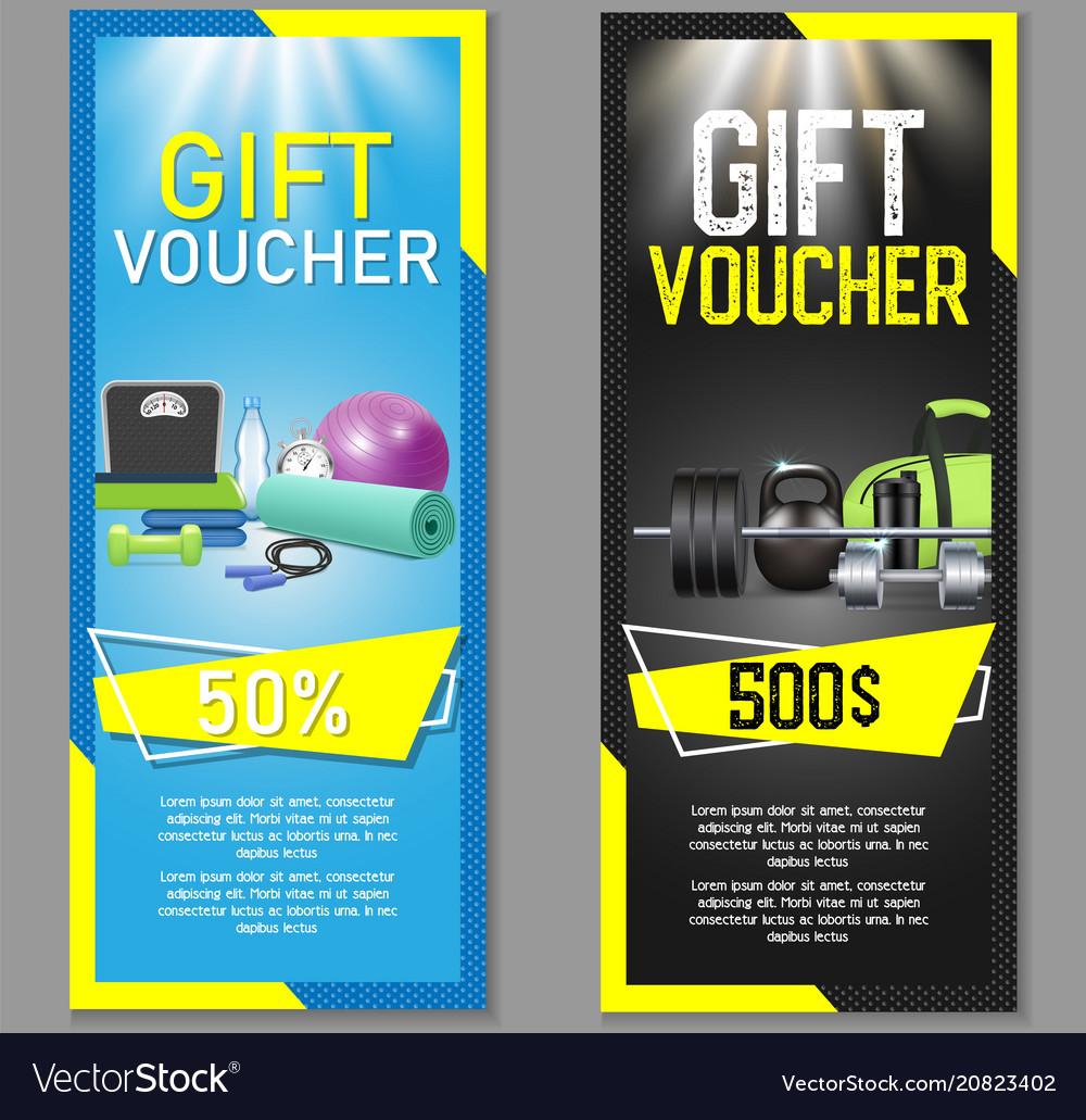 fitness gift voucher template set vector image