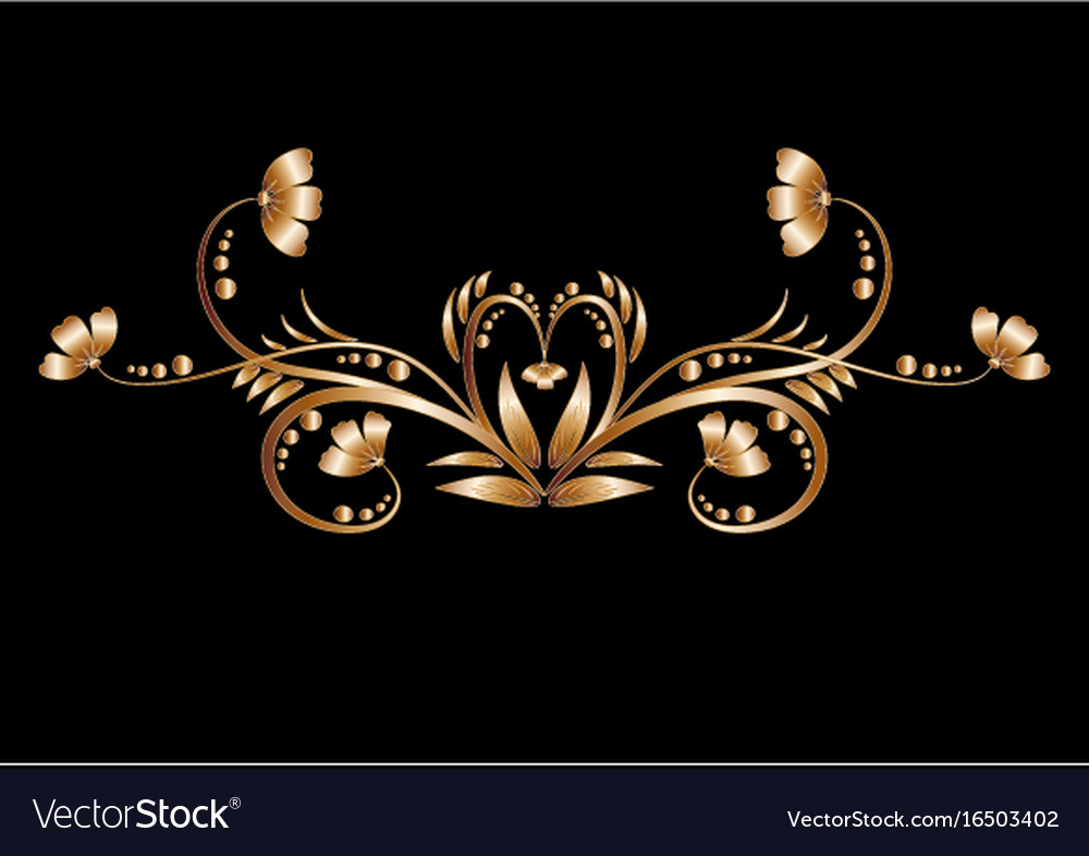Gold pattern of metal leaves and flowers