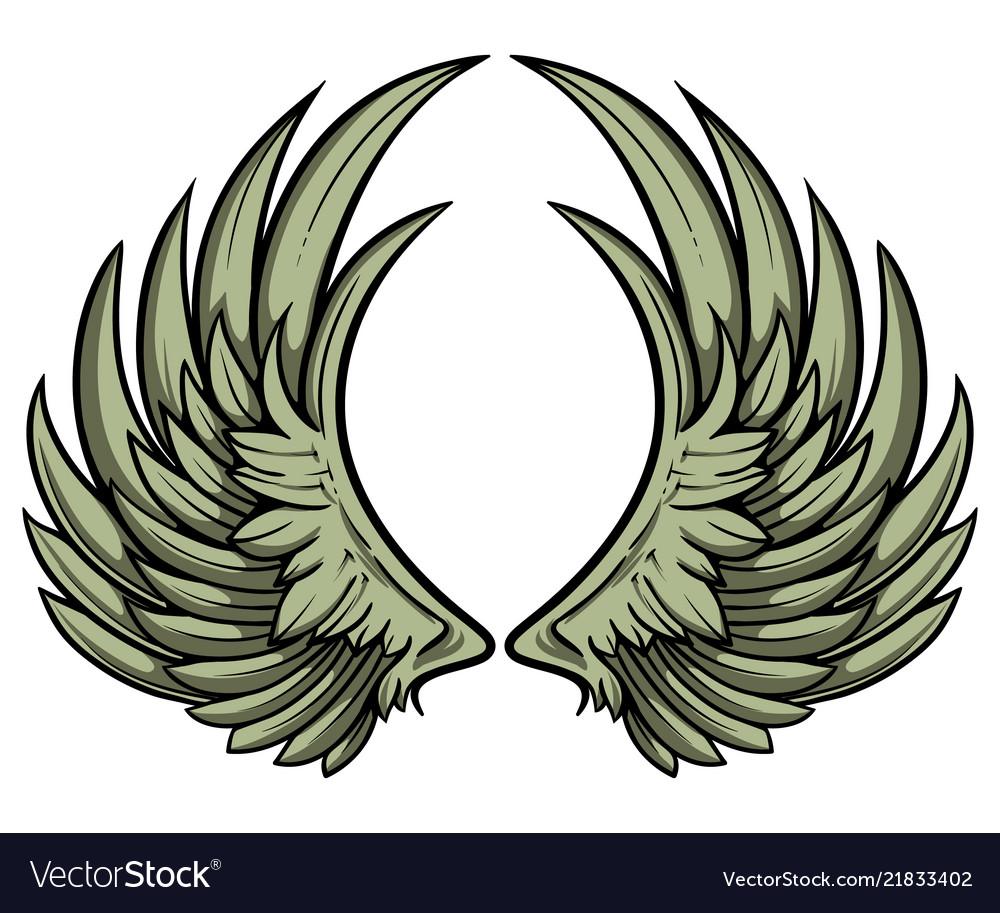 Hand drawn pair wings