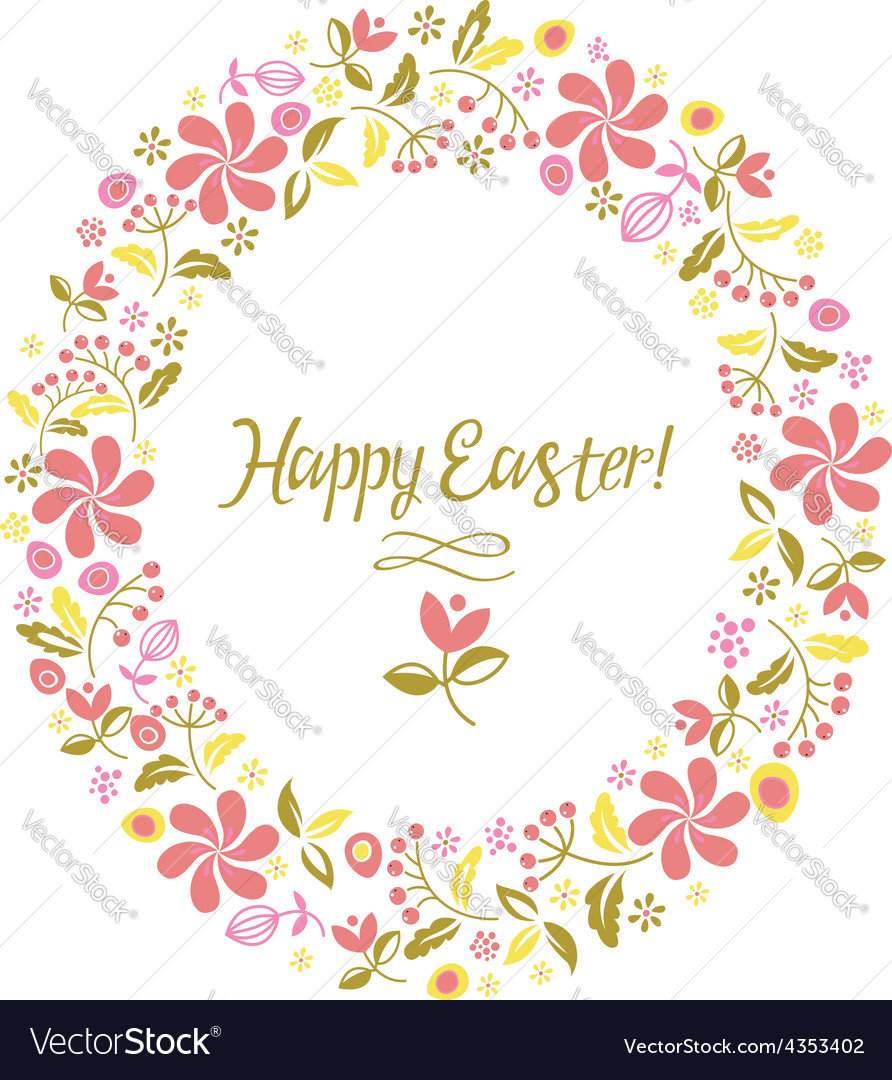 Happy easter card flowers