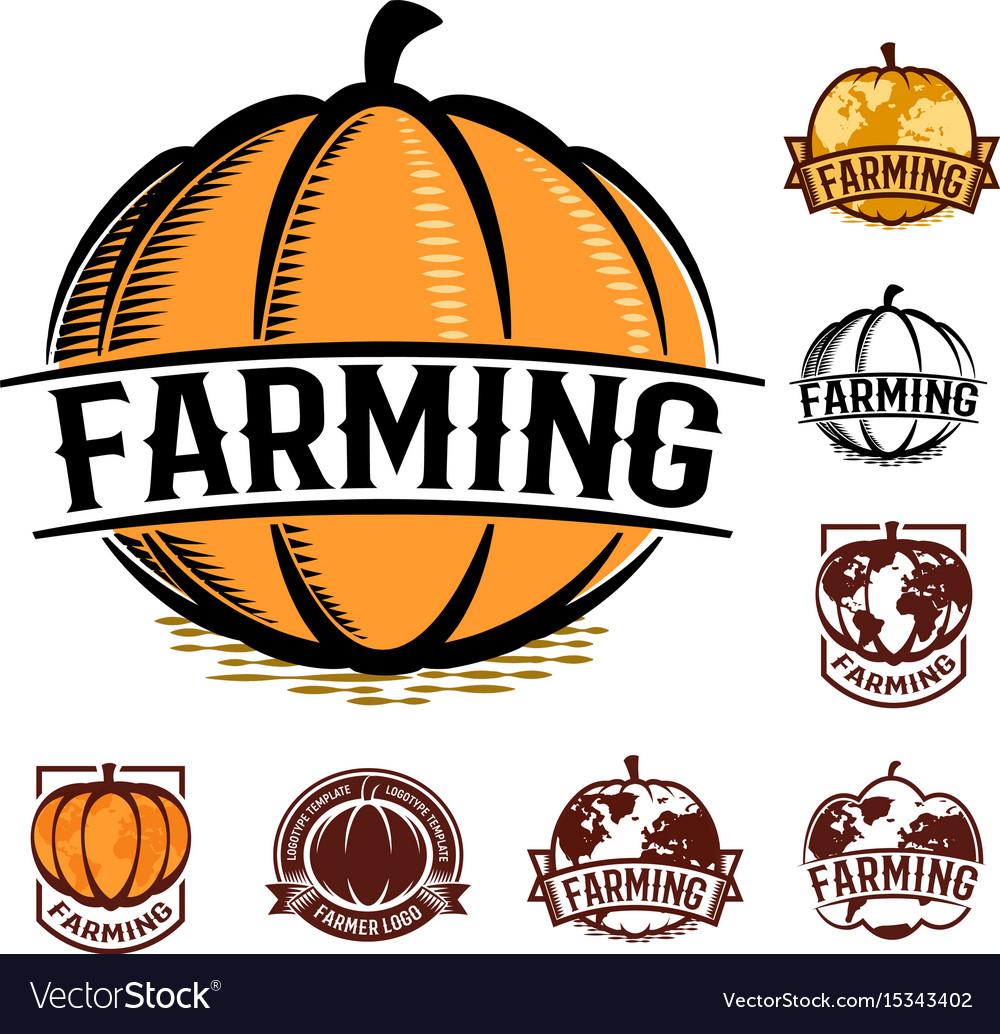 Isolated orange color pumpkin logo set on white