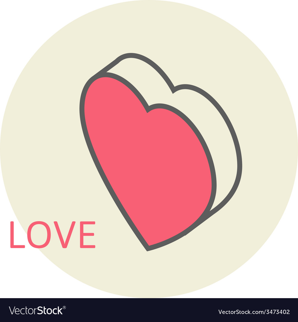 Isometric Large Heart In Honor Of Valentines Day Vector Image