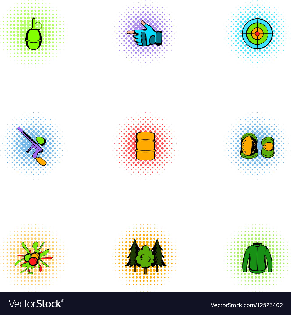 Paintball icons set pop-art style