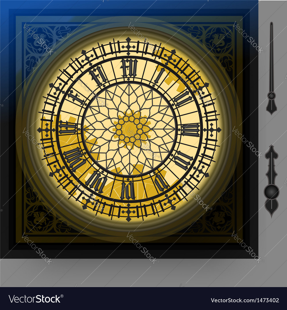 Quadrant of magical victorian clock with lancets