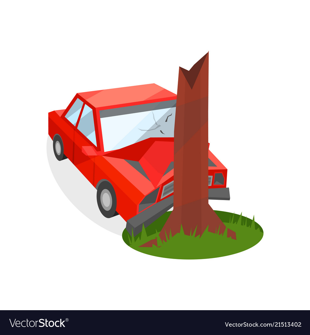 Red car crashed into tree trunk damaged