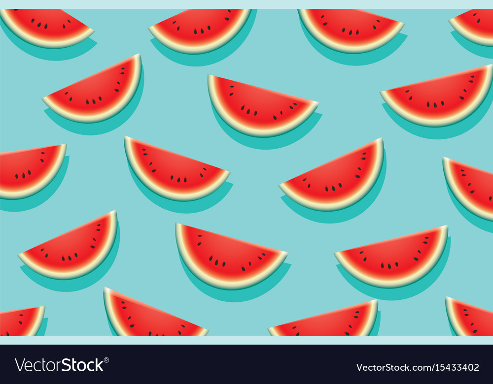 Watermelon slice on blue background summer time